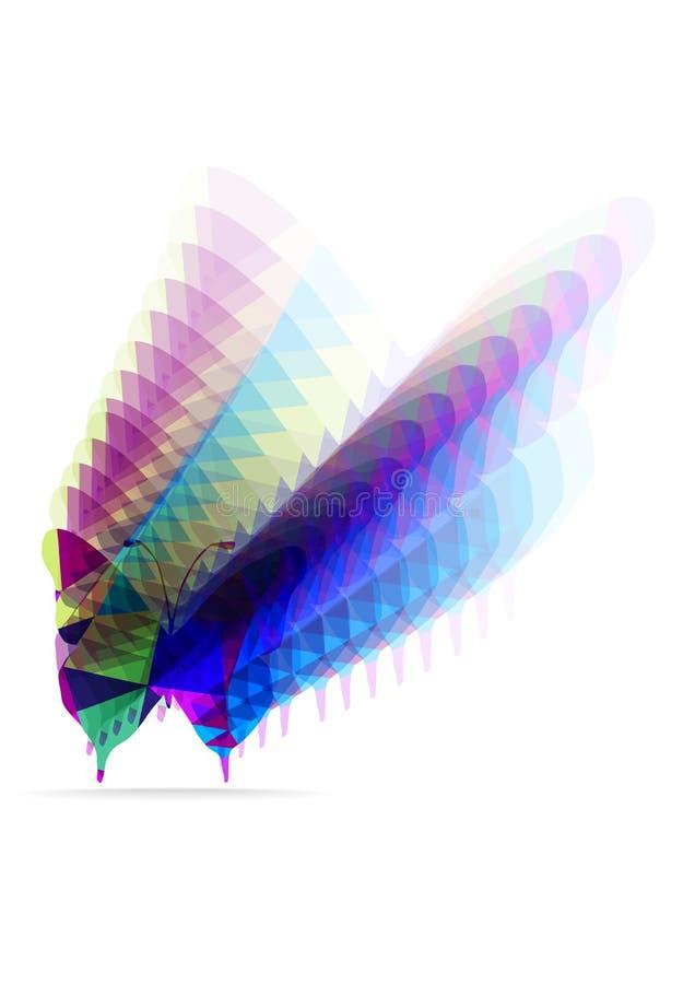 Siluetta luminosa della farfalla dei poligoni illustrazione di stock