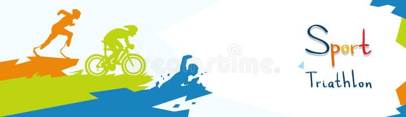 Siluetta maratona della competizione sportiva di triathlon disabile degli atleti illustrazione di stock