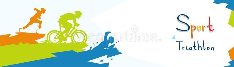 Siluetta maratona della competizione sportiva di triathlon disabile degli atleti royalty illustrazione gratis