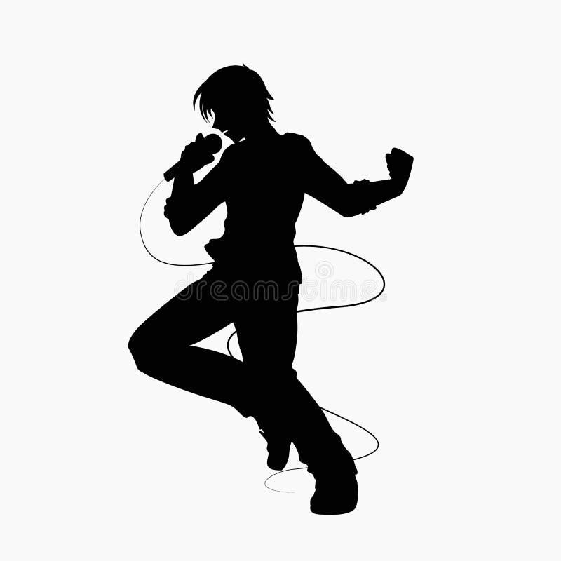 Siluetta maschio del cantante sul vettore bianco del fondo illustrazione di stock