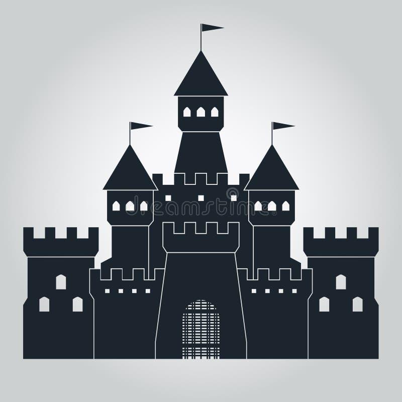 Siluetta medievale del castello illustrazione vettoriale