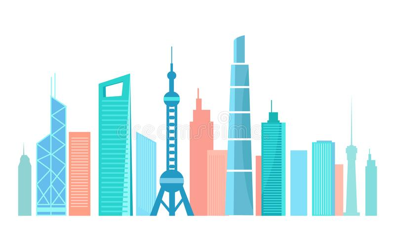 Siluetta moderna asiatica della città con alto Skyscrapes illustrazione di stock