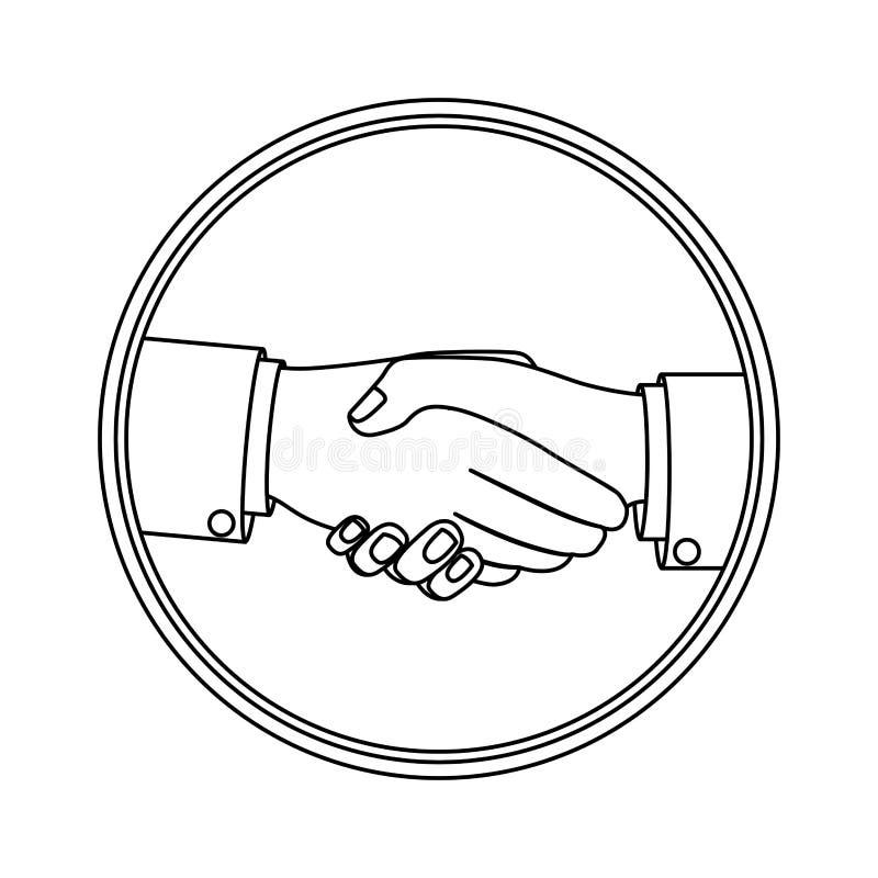 Siluetta monocromatica con il saluto della mano nel cerchio royalty illustrazione gratis