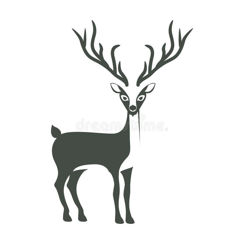 siluetta monocromatica con la renna dei corni lunghi illustrazione vettoriale