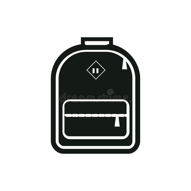 Siluetta monocromatica dell'icona dello zaino Simbolo semplificato stilizzato dello Zaino zaino schoolbag sacco Vettore illustrazione vettoriale