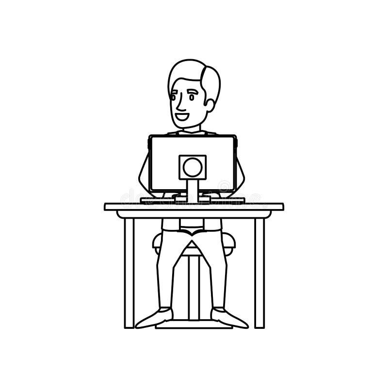 Siluetta monocromatica dell'uomo con il vestito convenzionale che si siede nella sedia in scrittorio con il computer illustrazione di stock