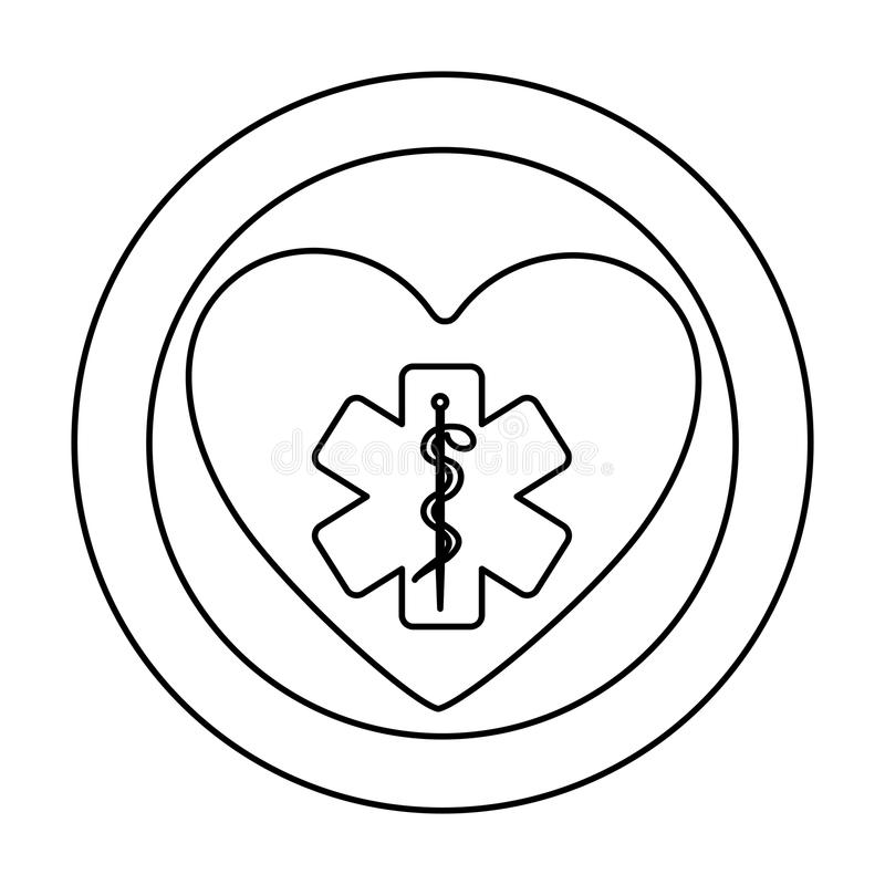 siluetta monocromatica di cuore dentro di doppio cerchio con la stella di vita illustrazione di stock