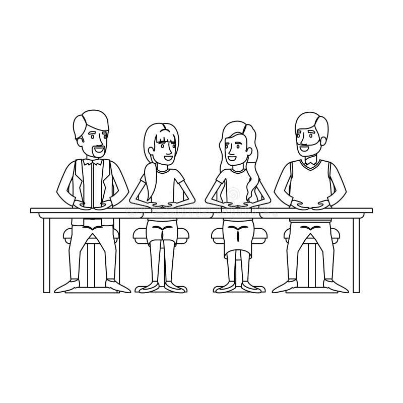 Siluetta monocromatica di lavoro di squadra delle donne e degli uomini che si siedono in scrittorio illustrazione vettoriale