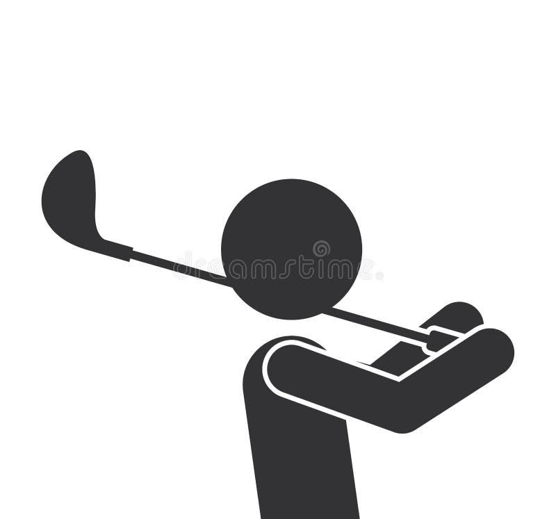 Siluetta monocromatica di mezzo uomo del corpo con il club di golf royalty illustrazione gratis