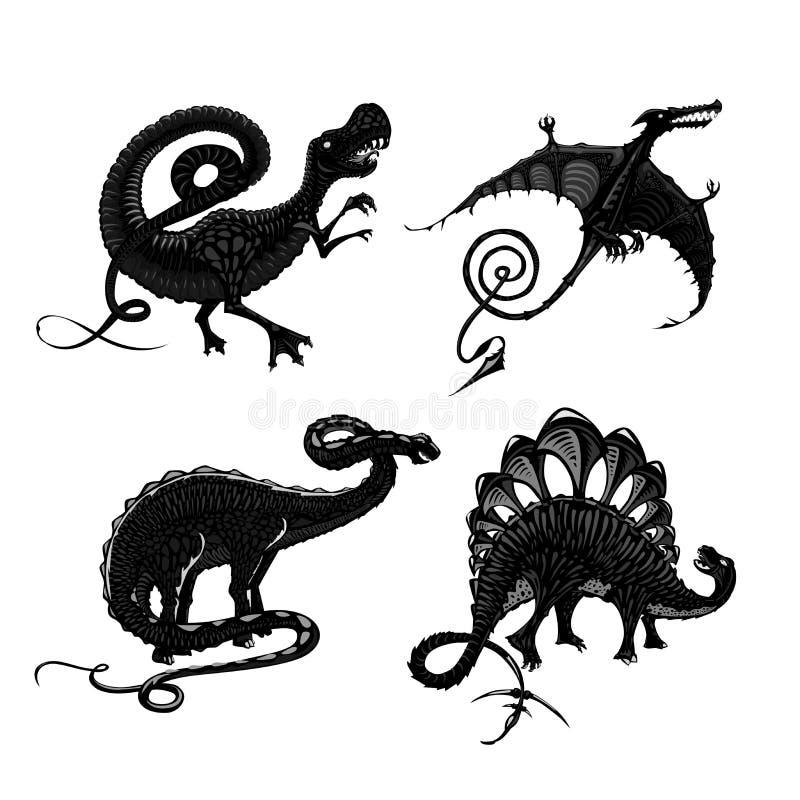 Siluetta nera dei dinosauri su bianco Tirannosauro, pterodattilo, stegosauro e apatosauro Stile del tatuaggio illustrazione di stock