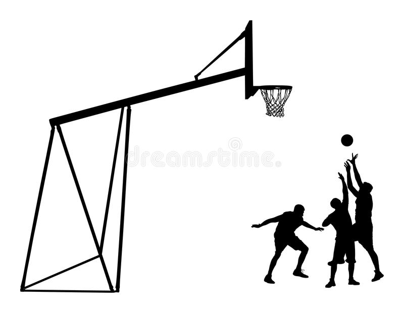 Siluetta nera dei giocatori di pallacanestro Sportivo che gioca pallacanestro illustrazione di stock
