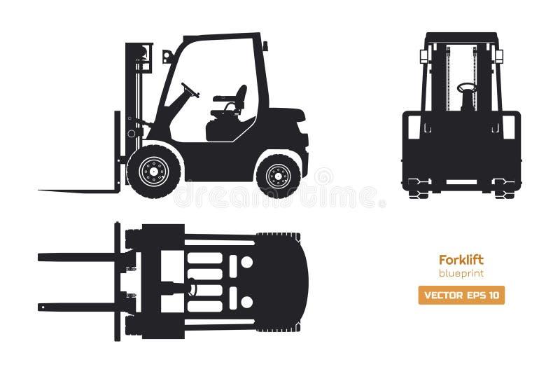 Siluetta nera del carrello elevatore Vista frontale laterale e della cima, Modello della macchina idraulica Caricatore isolato in illustrazione vettoriale
