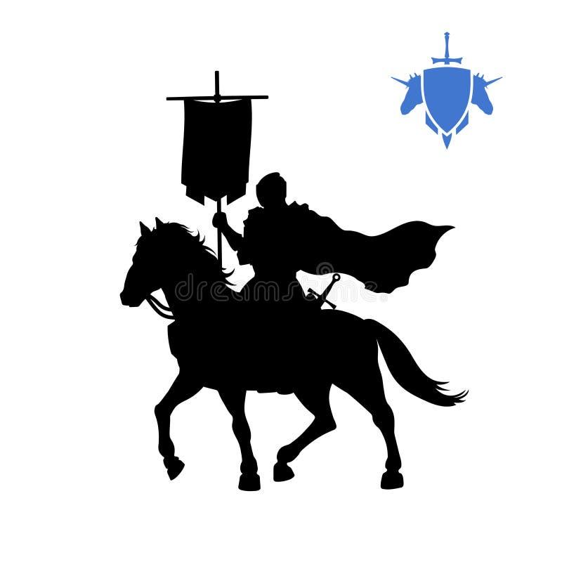 Siluetta nera del cavaliere medievale con l'insegna Carattere del signore della guerra di fantasia Icona dei giochi del paladino  illustrazione di stock