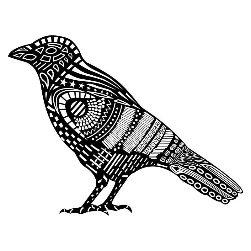 Siluetta nera del corvo illustrazione vettoriale