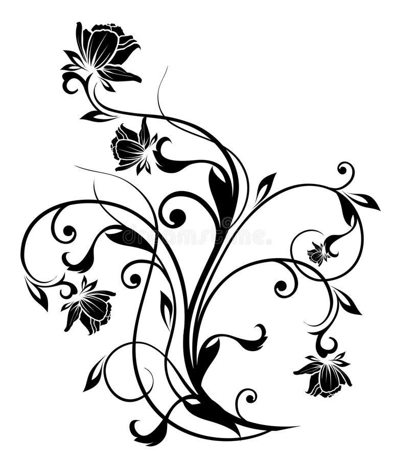 Siluetta nera del fiore illustrazione di stock