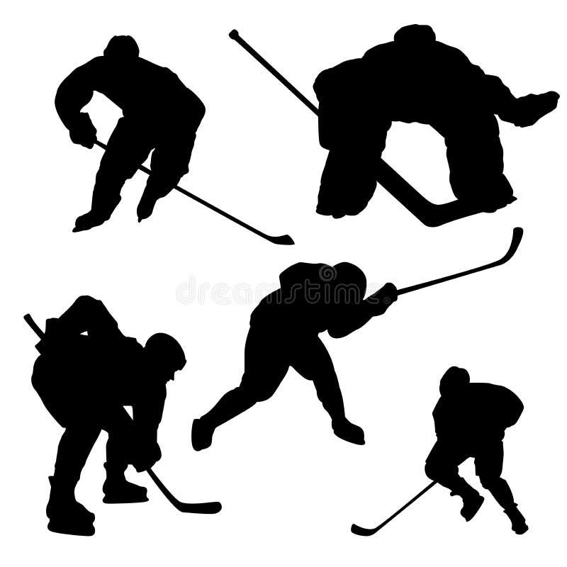 Siluetta nera del giocatore di hockey su fondo bianco illustrazione vettoriale