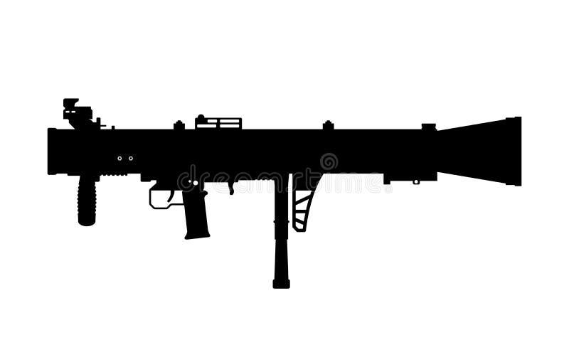 Siluetta nera del lanciarazzi su fondo bianco Arma dell'esercito di U.S.A. Immagine isolata della pistola della granata illustrazione vettoriale