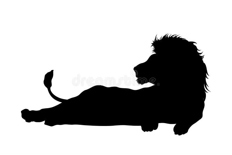 Siluetta nera del leone di menzogne su fondo bianco Icona isolata del gatto selvaggio Animali africani illustrazione di stock
