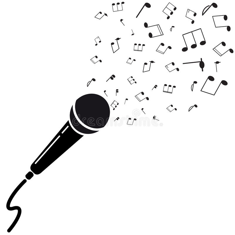 Siluetta nera del microfono con le note. illustrazione di stock
