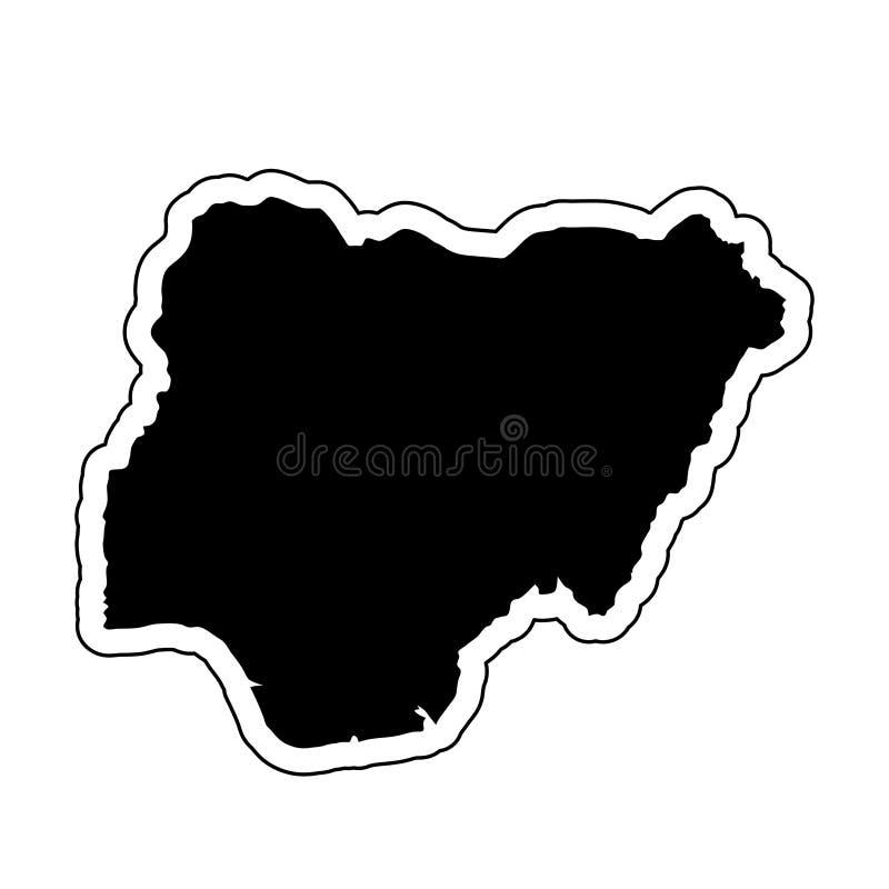 Siluetta nera del paese Nigeria con la linea di contorno o illustrazione di stock
