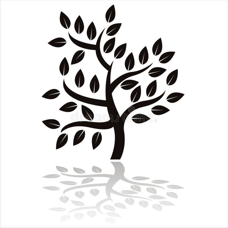 Siluetta nera dell'albero illustrazione di stock