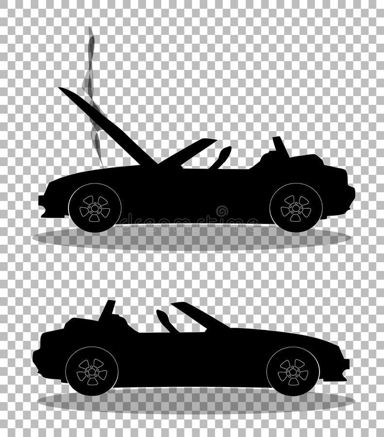 Siluetta nera dell'incidente stradale prima e dopo illustrazione di stock