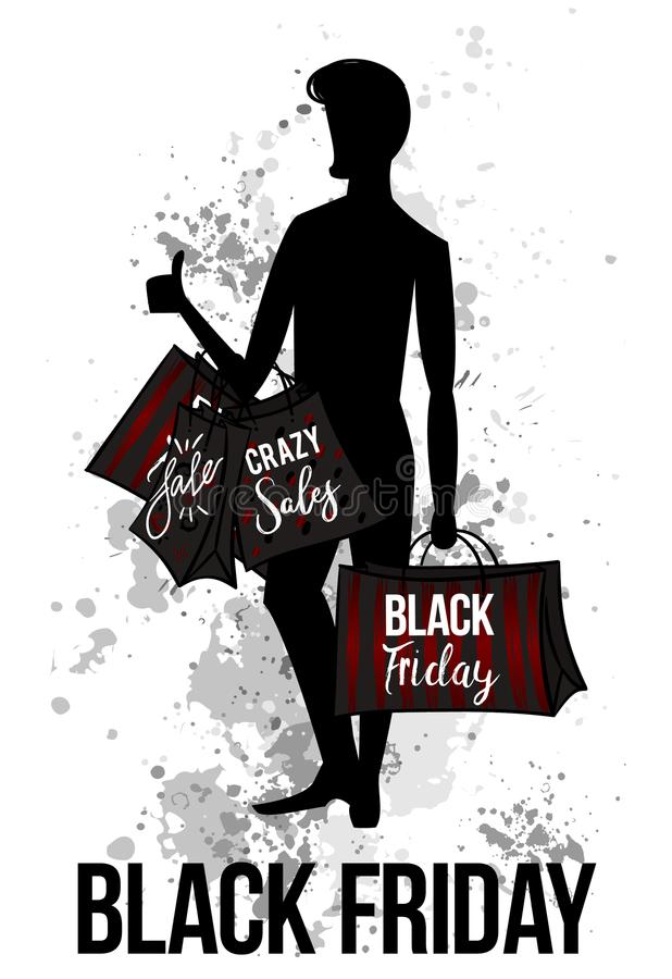 Siluetta nera dell'uomo di venerdì con i sacchetti della spesa illustrazione vettoriale