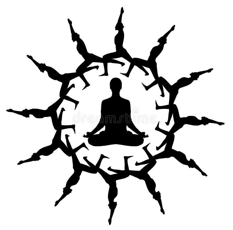 Siluetta nera della donna nella posizione di yoga in ornamento del caleidoscopio fotografia stock