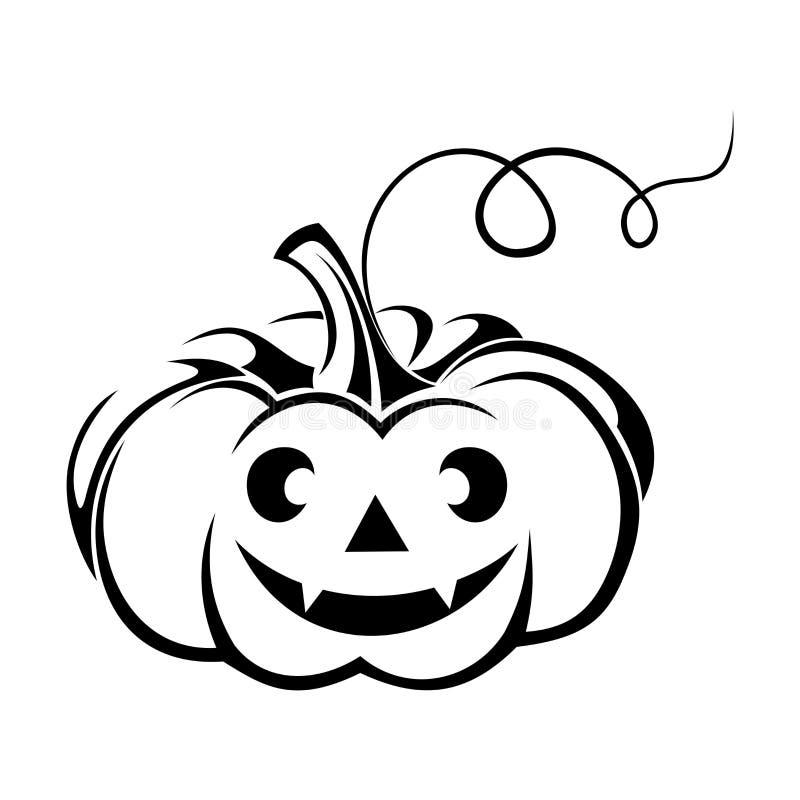 Siluetta nera della Jack-O-lanterna (zucca di Halloween). royalty illustrazione gratis