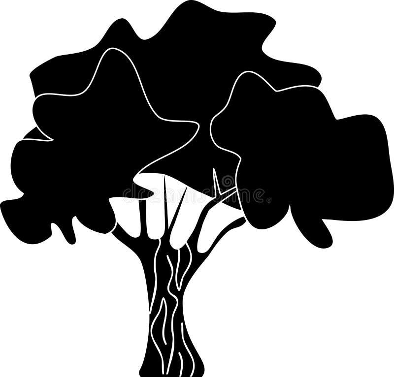 Siluetta nera della latifoglia stilizzata su fondo bianco royalty illustrazione gratis