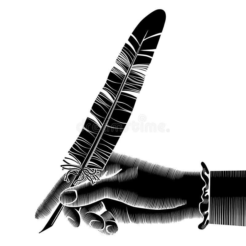 Siluetta nera della mano femminile con una penna illustrazione di stock