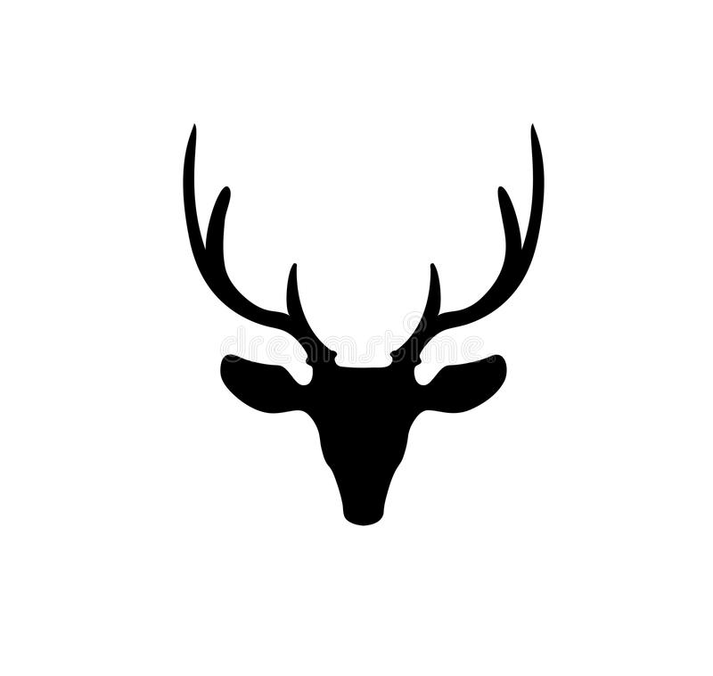 Siluetta nera della testa della renna con i grandi corni isolati illustrazione di stock