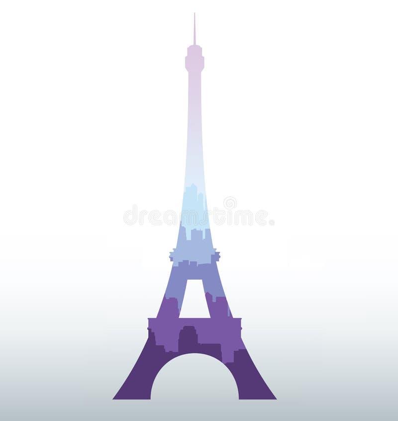 Siluetta nera della torre Eiffel illustrazione vettoriale