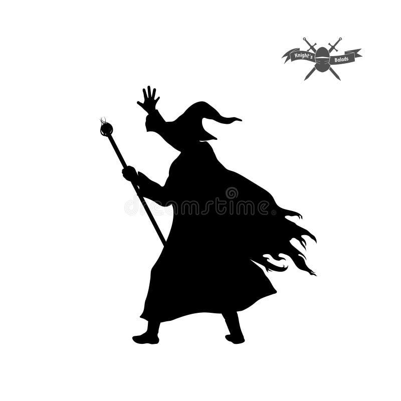 Siluetta nera dello stregone con il cappello ed il personale su fondo bianco Immagine isolata del mago di fantasia illustrazione vettoriale