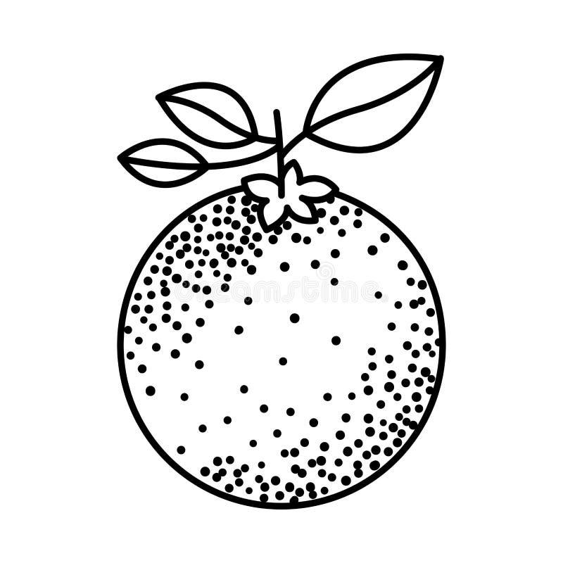 Siluetta nera di frutta arancio con il gambo e le foglie royalty illustrazione gratis