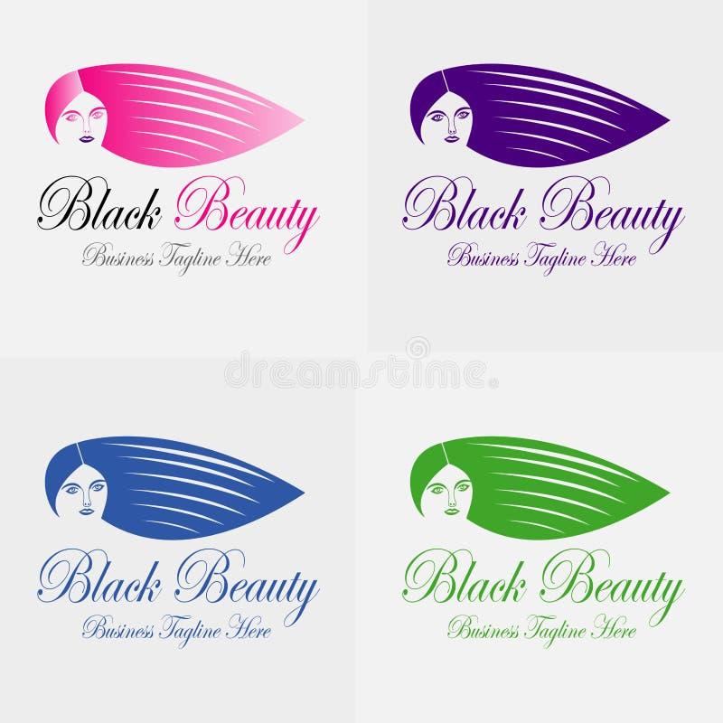 Siluetta nera di Logo Vector della ragazza di bellezza illustrazione di stock