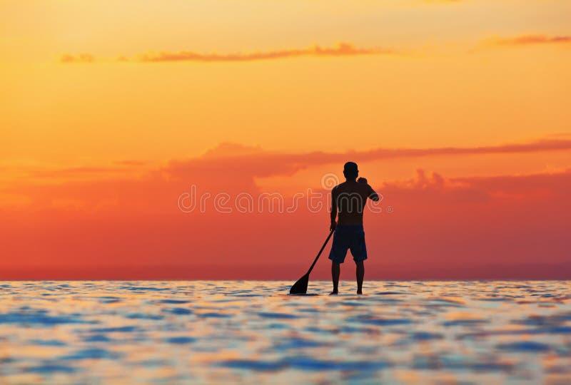 Siluetta nera di tramonto del pensionante della pagaia che sta sul SUP immagini stock