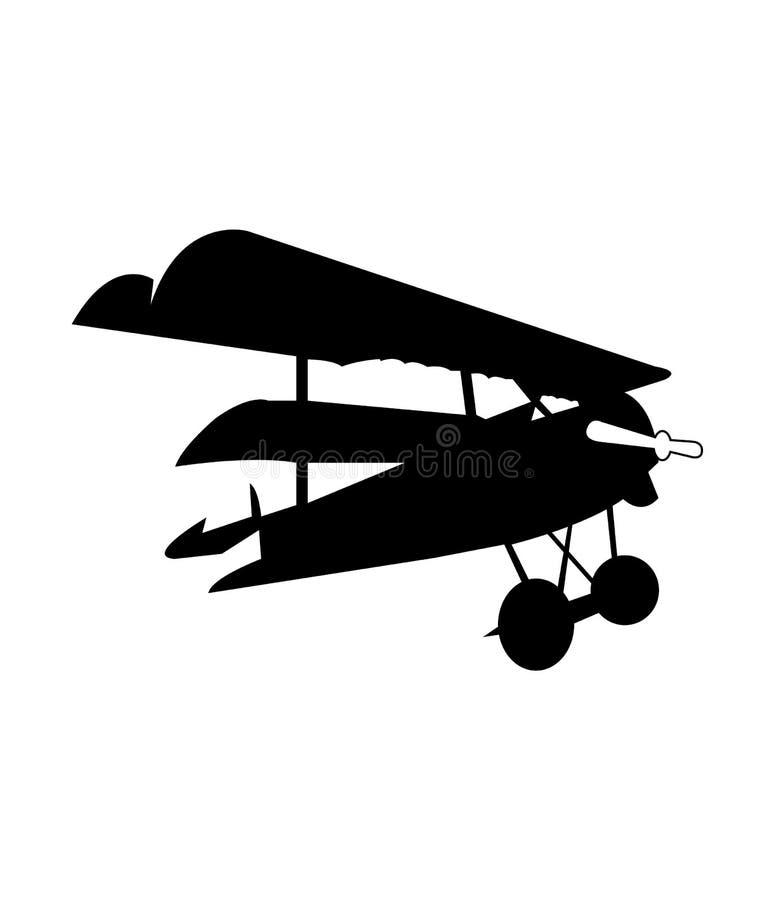 Siluetta nera di un aeroplano d'annata royalty illustrazione gratis
