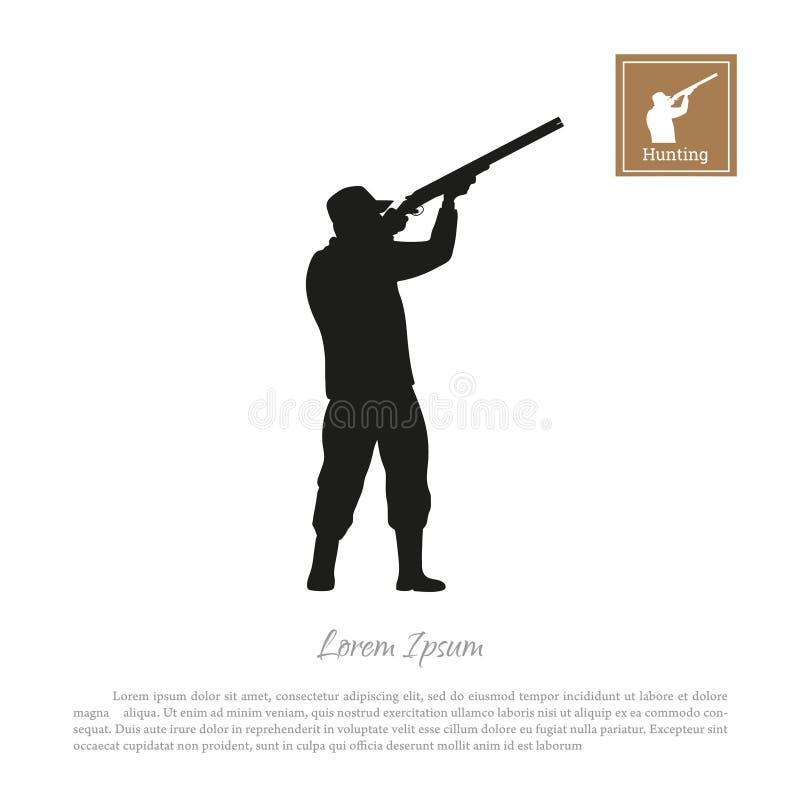 Siluetta nera di un cacciatore su un fondo bianco Uomo che spara una pistola illustrazione vettoriale