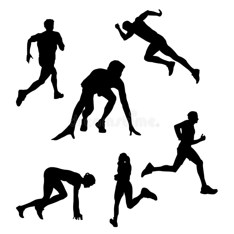 Siluetta nera di un corridore, atleta su un fondo bianco illustrazione di stock