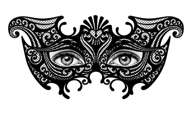 Siluetta nera di una maschera veneziana di carnevale decorativo con il fem illustrazione vettoriale
