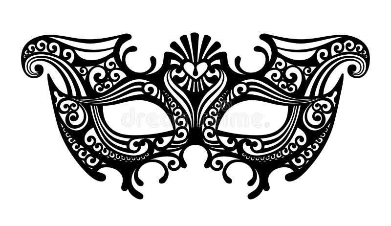 Siluetta nera di una maschera veneziana di carnevale decorativo isolata royalty illustrazione gratis
