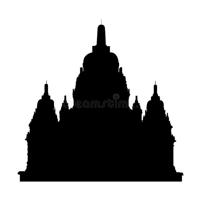Siluetta nera di vecchio tempio buddista di Sewu royalty illustrazione gratis