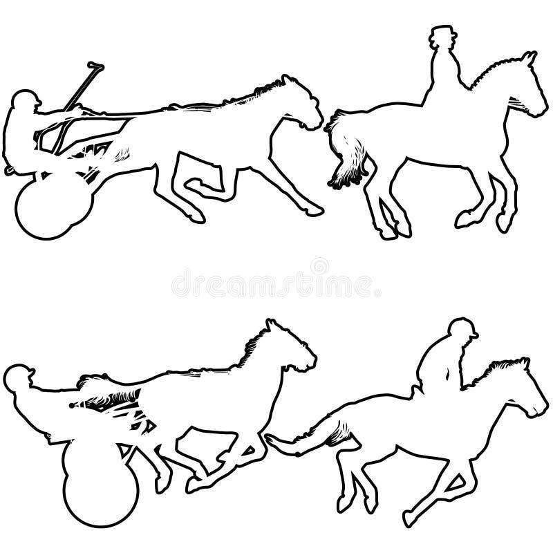 Siluetta nera stabilita del cavallo e della puleggia tenditrice illustrazione vettoriale