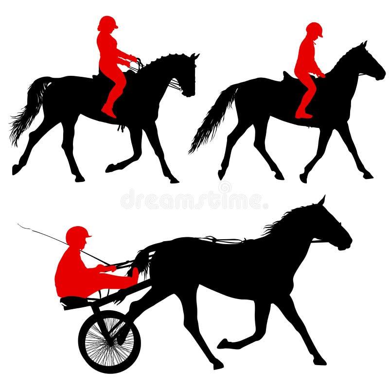 Siluetta nera stabilita del cavallo e della puleggia tenditrice royalty illustrazione gratis