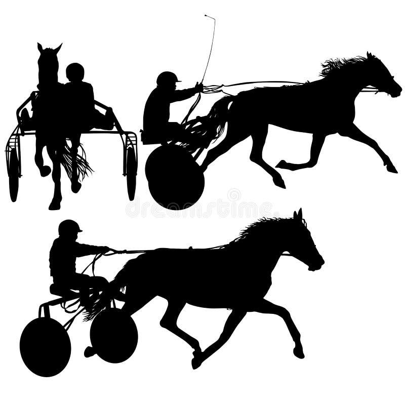 Siluetta nera stabilita del cavallo e della puleggia tenditrice illustrazione di stock