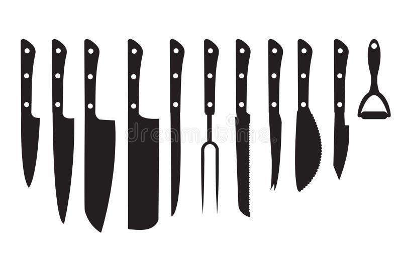 Siluetta nera stabilita del coltello Insieme delle icone nere della siluetta dei coltelli differenti isolate su fondo bianco Mett royalty illustrazione gratis