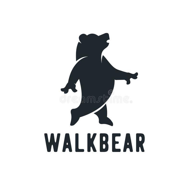 Siluetta, orso della passeggiata, vista laterale, camminando, progettato facendo uso della spazzola di lerciume sul fondo del ner royalty illustrazione gratis