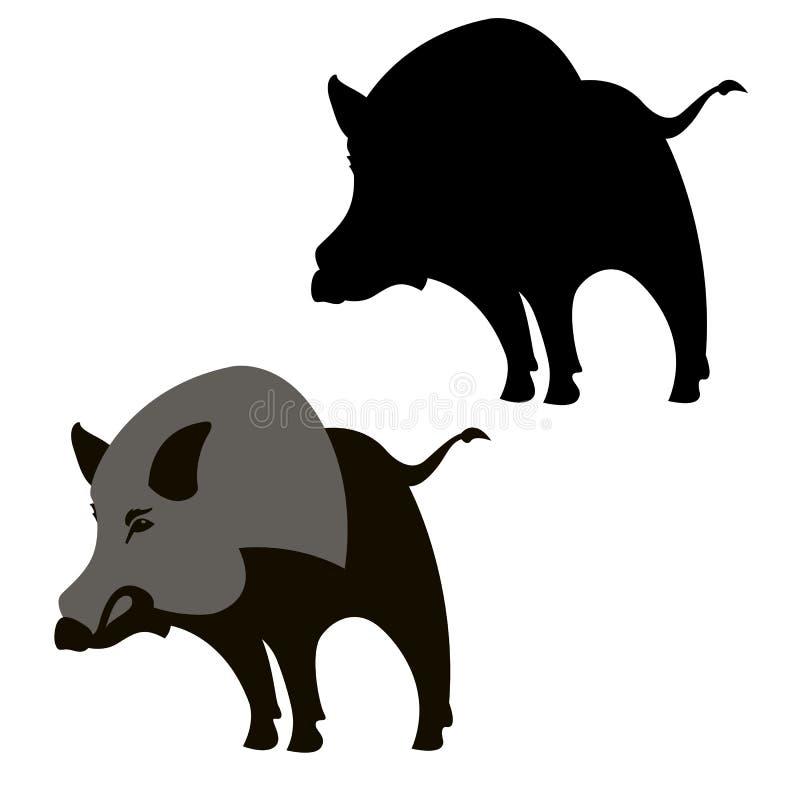Siluetta piana di stile dell'illustrazione selvaggia di vettore del verro illustrazione di stock