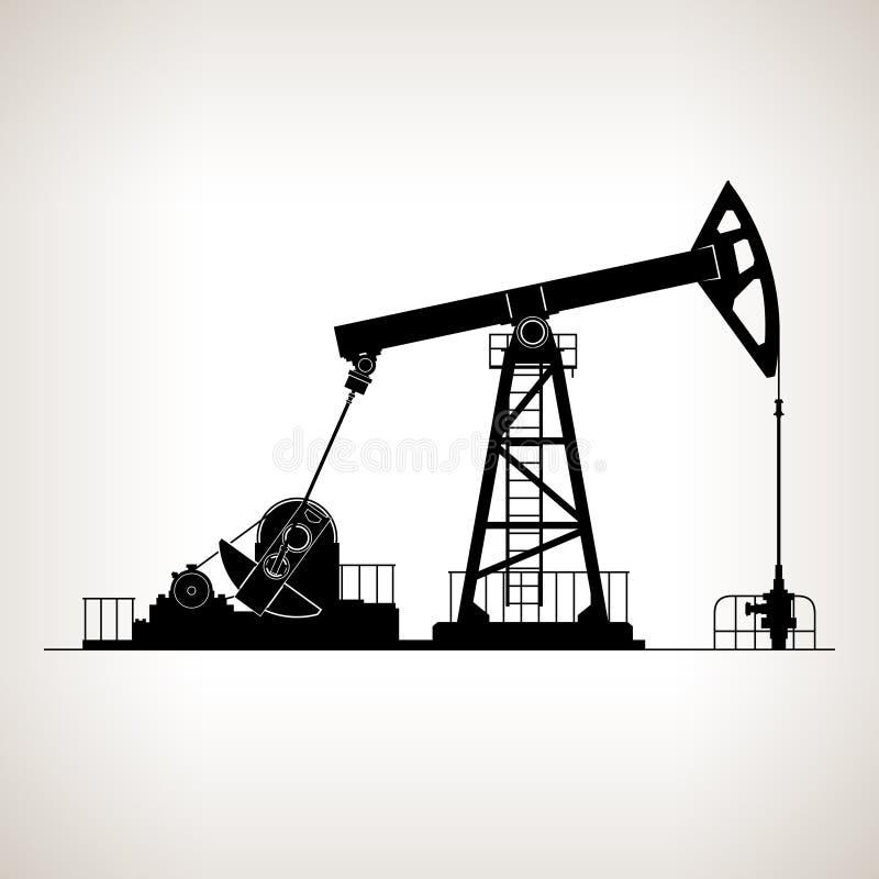 Siluetta Pumpjack o pompa di olio illustrazione vettoriale